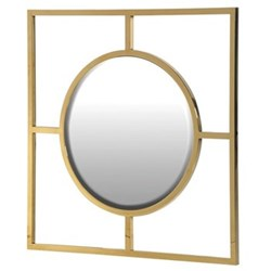 Round mirror in square frame, 77.5 x 77.5cm, gold