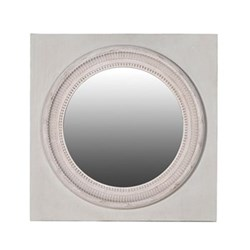 Round mirror in square frame 92 x 72cm