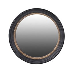 Convex mirror, 85cm, black & gold
