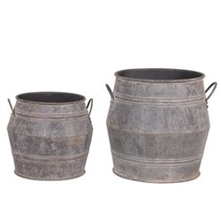 Pair of large metal buckets, 53 x 46 / 41 x 36cm