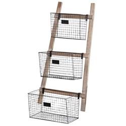 Wire baskets on ladder, 100 x 45 x 27cm