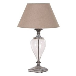Urn lamp with shade, 73cm, glass and linen
