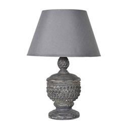 Acorn lamp with shade, 72cm, grey linen