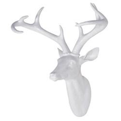 Deer head, 40 x 40cm, white resin