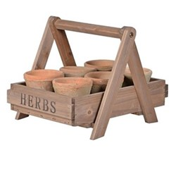 Crate with 6 pots 26 x 37.5 x 29cm