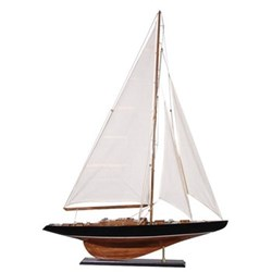 Yacht, 104 x 76cm, wood with white sails