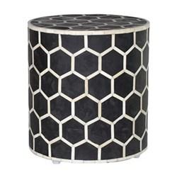 Honecomb stool, 39 x 37cm, black & white bone inlay