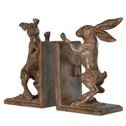 Boxing hare bookends, 23 x 13.5 x 10cm