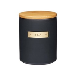 MasterClass Tea canister, H15 x D11cm, black stoneware/bamboo