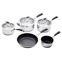 Master Class Five piece deluxe cookware set, non-stick stainless steel