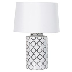 Table lamp with shade, H60 x Dia43cm, white/black