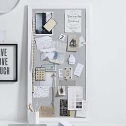 Pin board, H106.5 x W56.5cm, white and grey