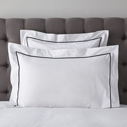 Savoy - 400 Thread Count Oxford pillowcase, 50 x 75cm, white with navy cord