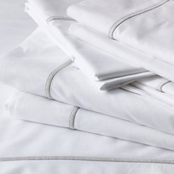 Savoy - 400 Thread Count King size flat sheet, W275 x L275cm, white with silver cord