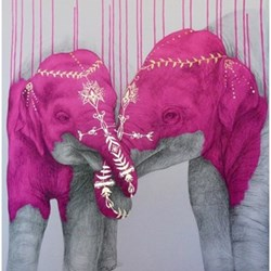 Example Artwork Soul Mates - #Pink by Louise McNaught, 84 x 84cm