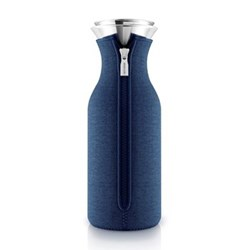 Fridge carafe with cover, 1 litre, navy blue woven