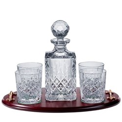 Whisky tray, decanter and set of 4 tumblers