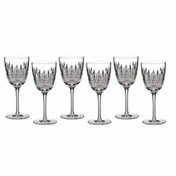 Lismore Diamond Set of 6 goblet wine glasses, 22.3cm
