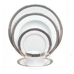 Plumes Platine Large rim soup plate, 24cm