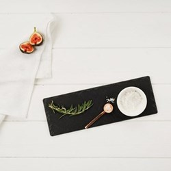 Marble & slate serving set, slate - 35 x 12.5cm / bowl - 9 x 3cm / spoon - 11cm