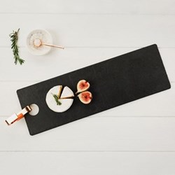 Rectangular hanging serving board, 50 x 16cm, slate with copper hook