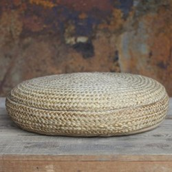 Hemp Pouf, H20 x D63cm, natural braided hemp