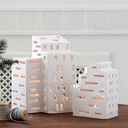 Urbania - Kubis Lighthouse candle holder, H16 x W7cm, white