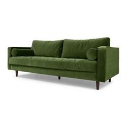 Scott 3 seater sofa, H83 x W226 x D100cm, grass cotton velvet