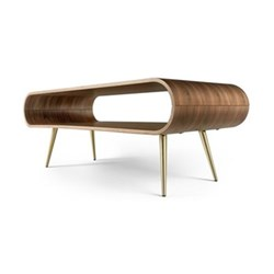 Hooper Storage coffee table, walnut and brass