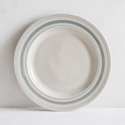Linen Stripe Dinner plate, 28cm, duck egg blue, full glaze