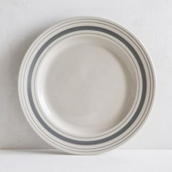 Linen Stripe Dinner plate, 28cm, grey, full glaze