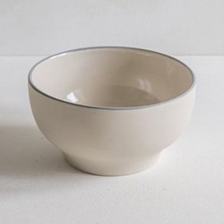 Linen Stripe Simple bowl, 15cm, grey, full glaze