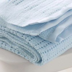 Satin Edged Cellular Cot blanket, 150 x 100cm, blue