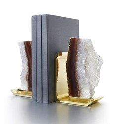 Fim Bookends, natural druz gold