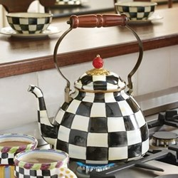 Courtly Check Tea kettle, 22.9 x 11.5 x H33cm - 3 quart, enamel