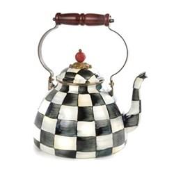 Courtly Check Tea kettle, 17.8 x H26.7cm - 2 quart, enamel
