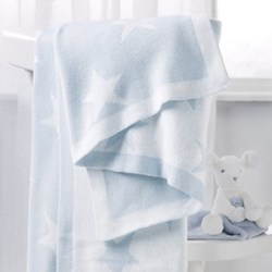 Star Reversible blanket, 75 x 100cm, baby blue