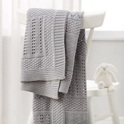 Patchwork blanket, 75 x 100cm, grey