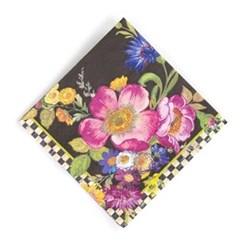 Flower Market Pack of 20 paper cocktail napkins, 24cm, black