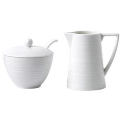 Strata Cream jug and sugar pot, 27cm, white
