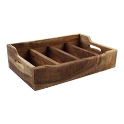 Nordic Extra large cutlery tray with 4 compartments, 48.5 x 31.4 x 13cm, natural