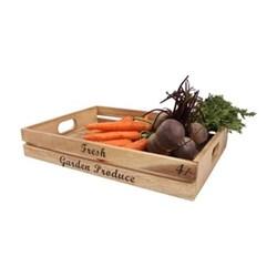 "Baroque - ""Fresh Garden Produce"" Large crate, 42 x 30 x 7cm, rustic acacia"