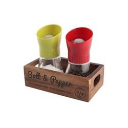 "Food Glorious Food - ""Salt & Pepper"" Crate box, 16 x 9 x 5cm, rustic acacia"