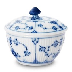 Blue Fluted Plain Covered sugar bowl, 15cl