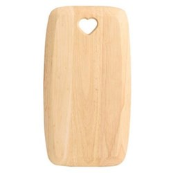 Colonial Home Rectangular board with heart cut out - small, 27.5 x 15 x 1.5cm, natural hevea