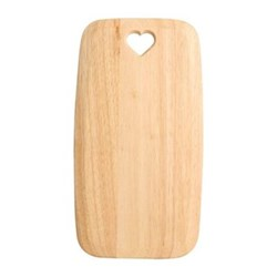 Colonial Home Rectangular board with heart cut out - large, 40 x 21.7 x 1.5cm, natural hevea