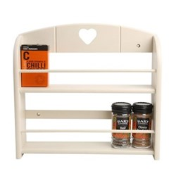 Colonial Home Spice rack for 12 jars, L30.8 x W7.5 x H29.5cm, cream hevea