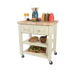 New England Trolley, 80 x 55 x 89cm, cream with natural hevea top
