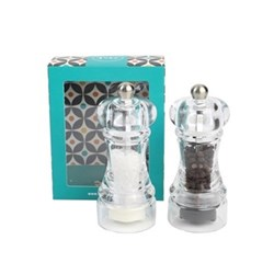 Capstan Slim-Line Set of salt and pepper mills, 10cm, clear acrylic