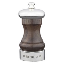 Rosewood Cap and Band Salt mill, 10.2cm, rosewood and sterling silver